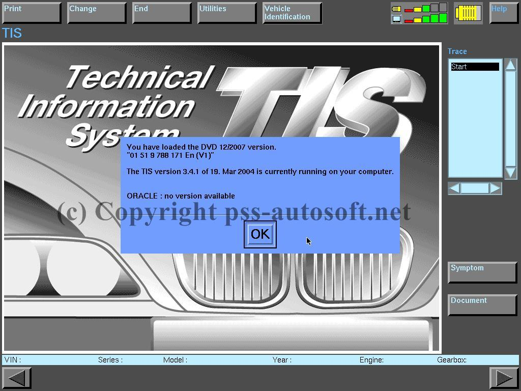 DIS showing Technical Information System (TIS) data